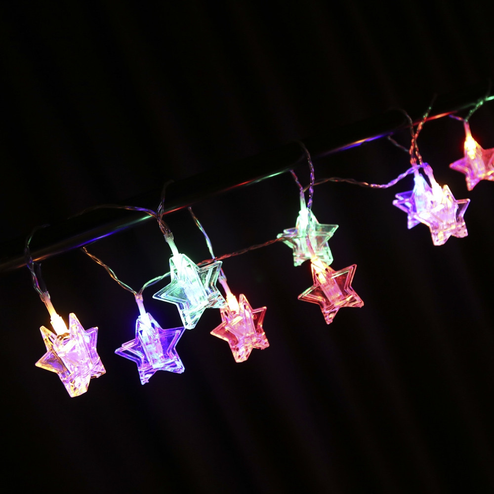 1.5M 10 LEDs Star Shape Photo Clip String Light RGB COLOR