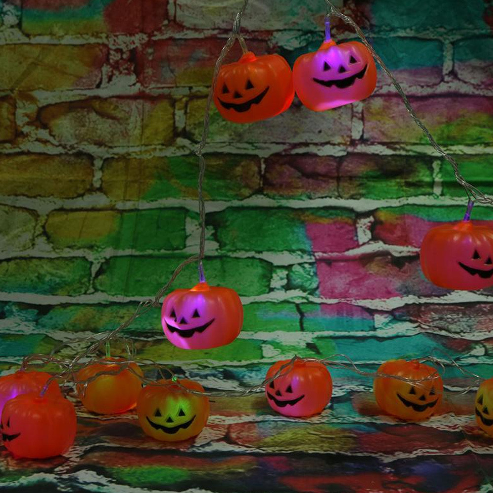 3M Halloween Pumpkin Battery Powered Colorful String LED Light Bar with 16 Lamp Holders  ORANGE