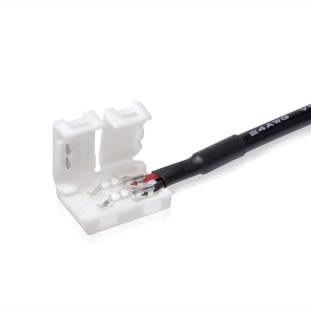 KWB Adapter Cable Plus 2 - Pin 10mm Connector Kit for 5050 Single Color LED Strip Lights 2PCS WHITE AND BLACK