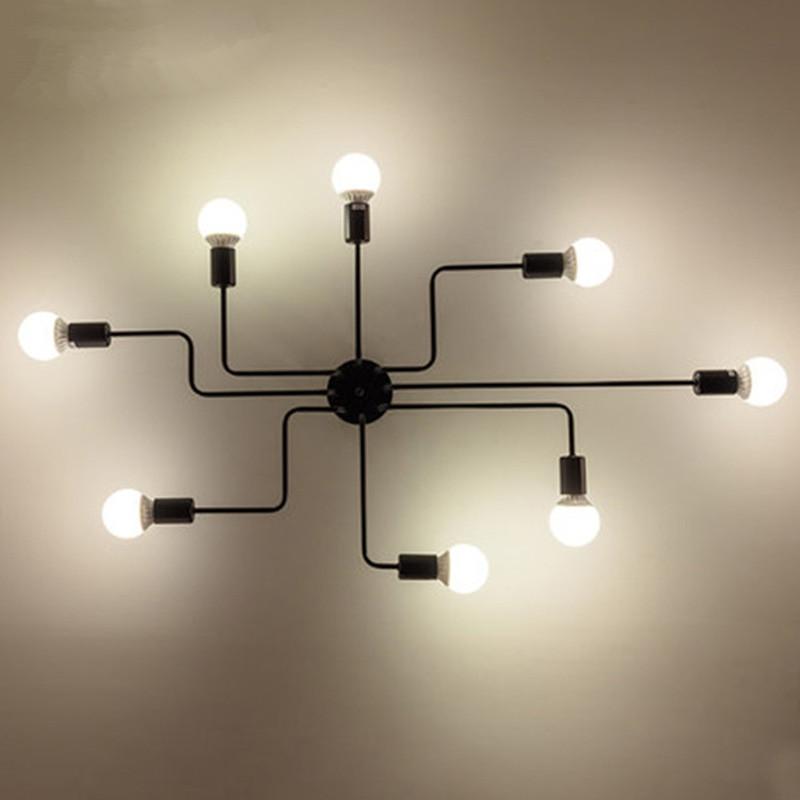 Ever-Flower 8 Head Retro Industrial Pendant Lamp Ceiling Light for Living Room Bedroom Clothing Store BLACK 220 - 240V