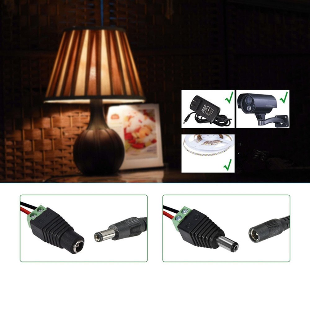 KWB Male and Female DC Power Connector Jack Adapter Plug for CCTV Camera and Strip Light 5PCS GREEN AND BLACK