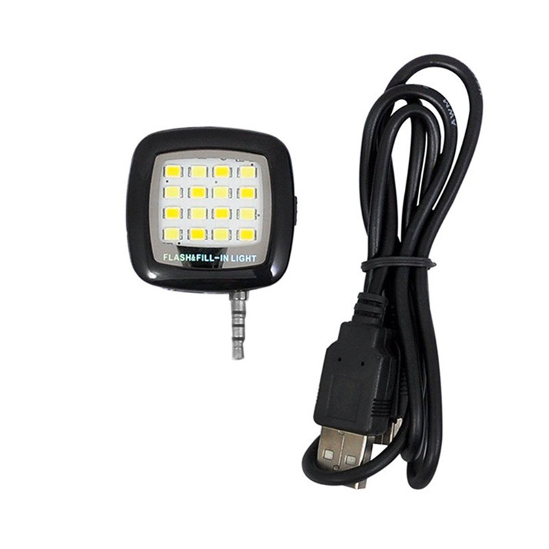16 LEDs Portable Mini Flash Fill Light Rechargeable for Smartphone iPhone Samsung Xiaomi HTC + Camera Video  BLACK