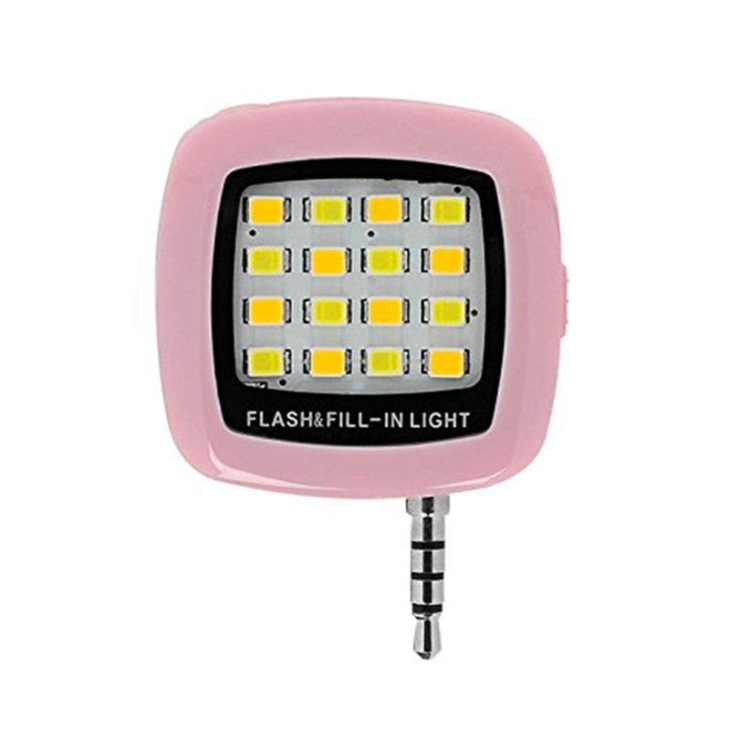 16 LEDs Portable Mini Flash Fill Light Rechargeable for Smartphone iPhone Samsung Xiaomi HTC + Camera Video  PINK
