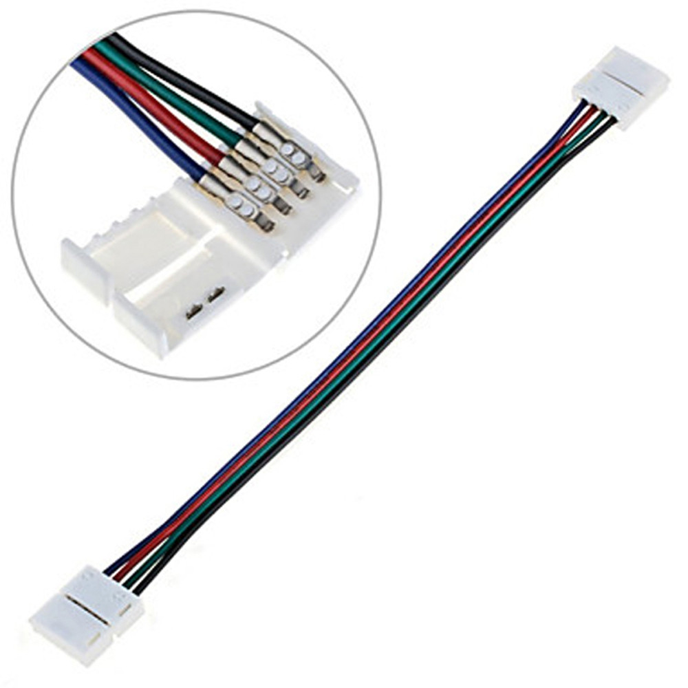 ZDM 5PCS Quick Splitter Connector 10MM T Shape 4 Conductor for 5050RGB with 10PCS Strip Light Connector COLORMIX