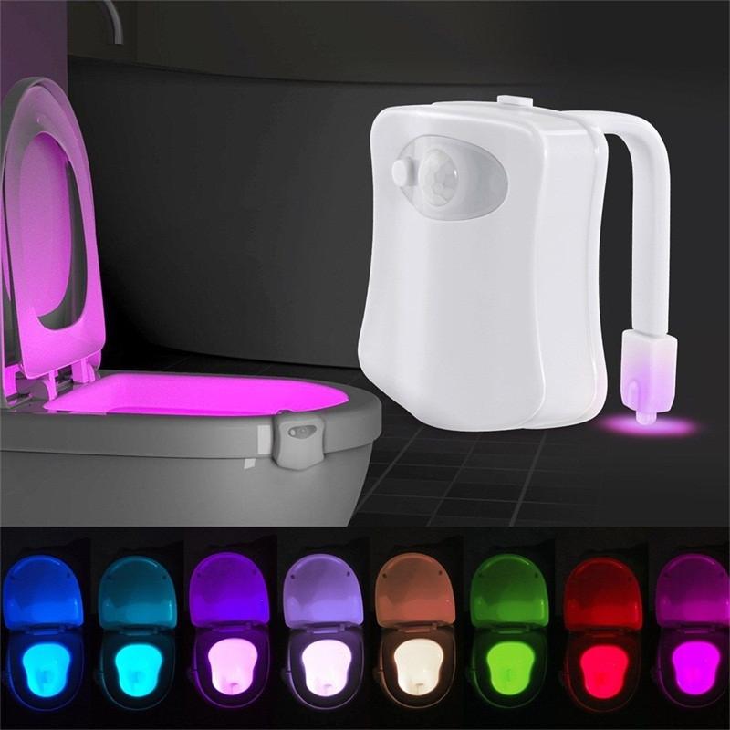 8 Color LED Motion Sensing Toilet Light Automatic Bathroom Nightlight 2pcs WHITE