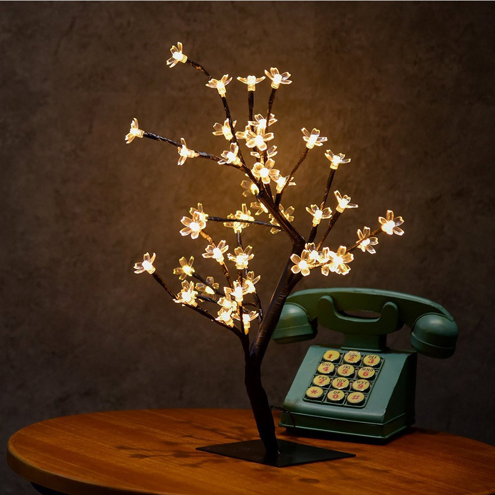 0.45M/17.72Inch 48LEDS Cherry Blossom Desk Top Bonsai Tree Light, Perfect for Home Festival Party Wedding YELLOW