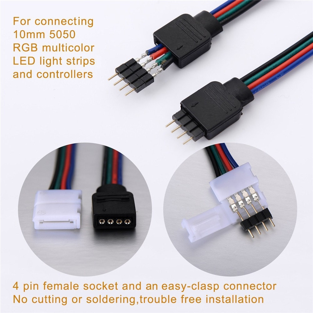 ZDM 10 PCS 4 Pin 10MM Connector Wire Male Cable For SMD 5050 Non-Waterproof RGB LED Strip RGB