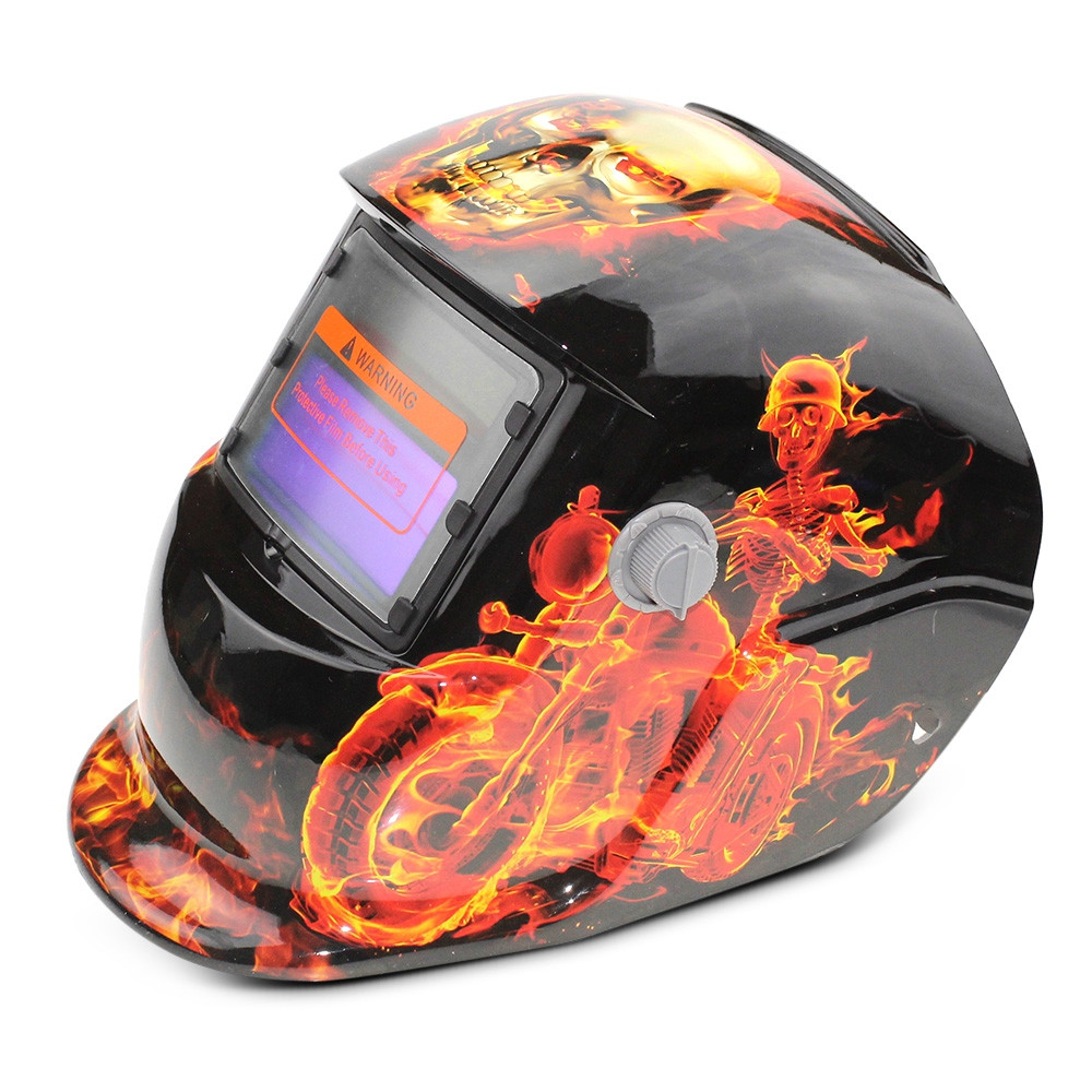 Solar Energy Automatic Changeable Light Electric Welding Protective Helmet with Skull Pattern
