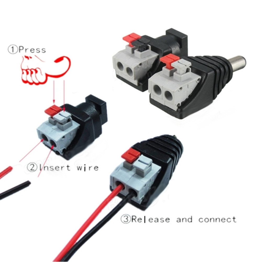 ZDM 1Pairs Intelligent Connection DC Power Male Female 5.5x2.1mm Connector Adapter Plug Cable Pressed for LED Strips 12V BLACK+RED FEMALE+MALE DC