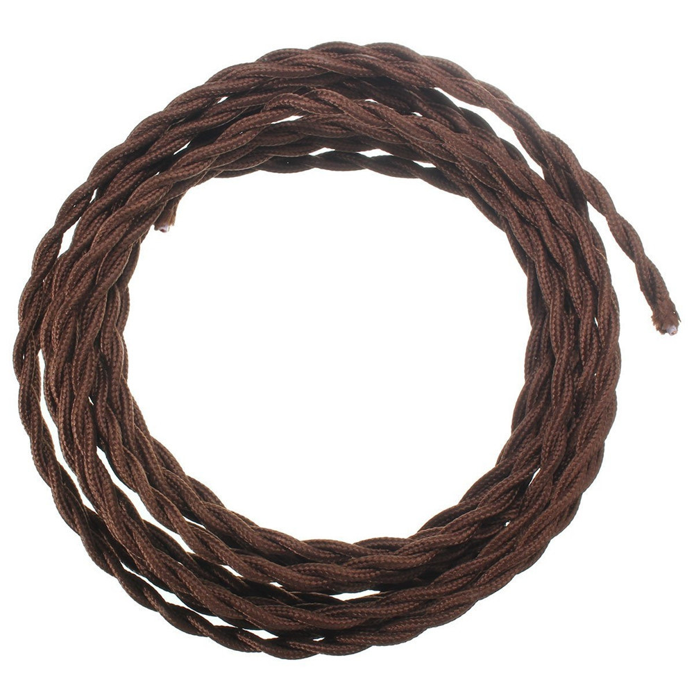 Brightness Twisted Cloth Cord 18/2 Cotton Covered Electrical Industrial Wire 10m 100 - 240V COFFEE