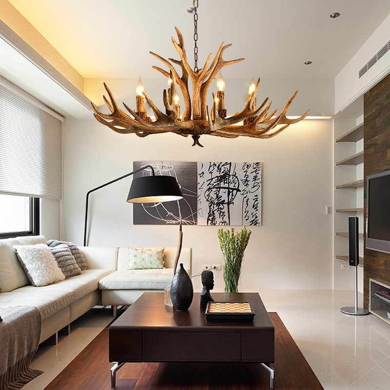 American Country Style Antler Chandeliers for Living Room Bedroom Nordic Restaurant Cafe Bars  MOCHA 110-120V