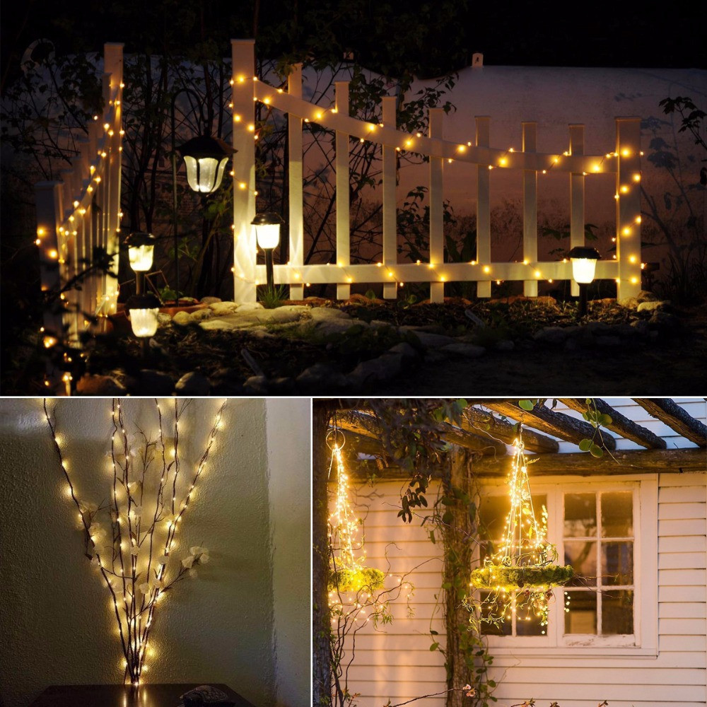 1PC 20M Solar Copper Wire String Light 8MODES LED Fairy String Waterproof Home Yard Christmas Holiday Gareden Decoration WARM WHITE