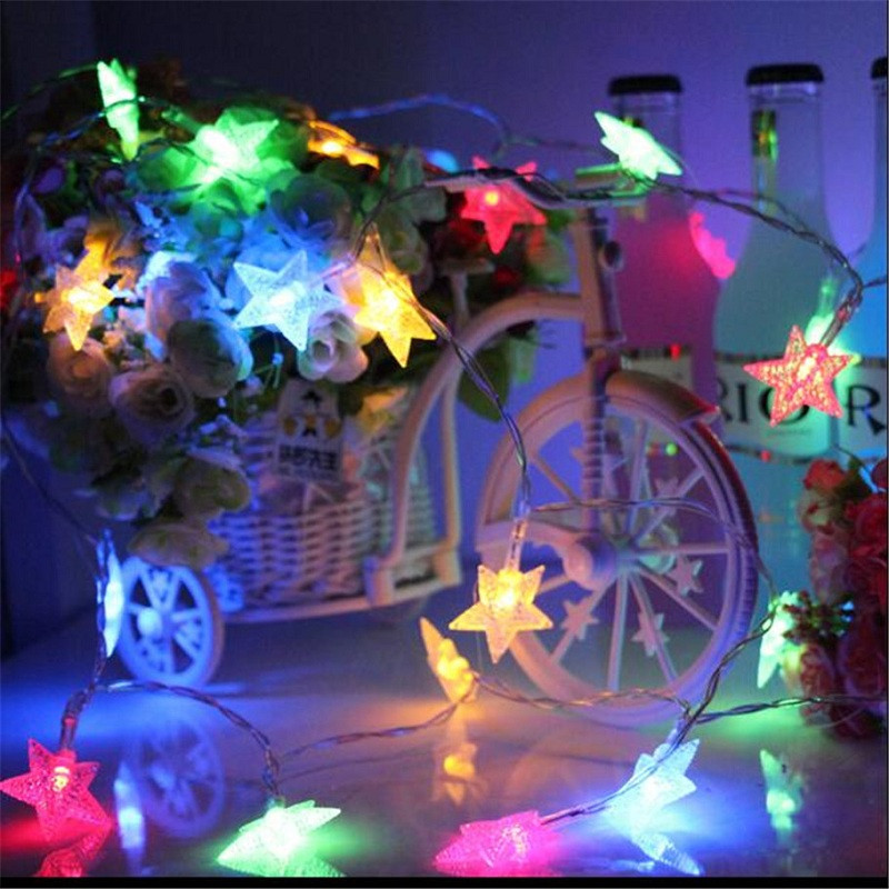 1PC 10M 60LEDS Led String Lights 8MODES Five Pointed Star Light Christmas New Year Wedding Party Bedroom 220V COLORFUL