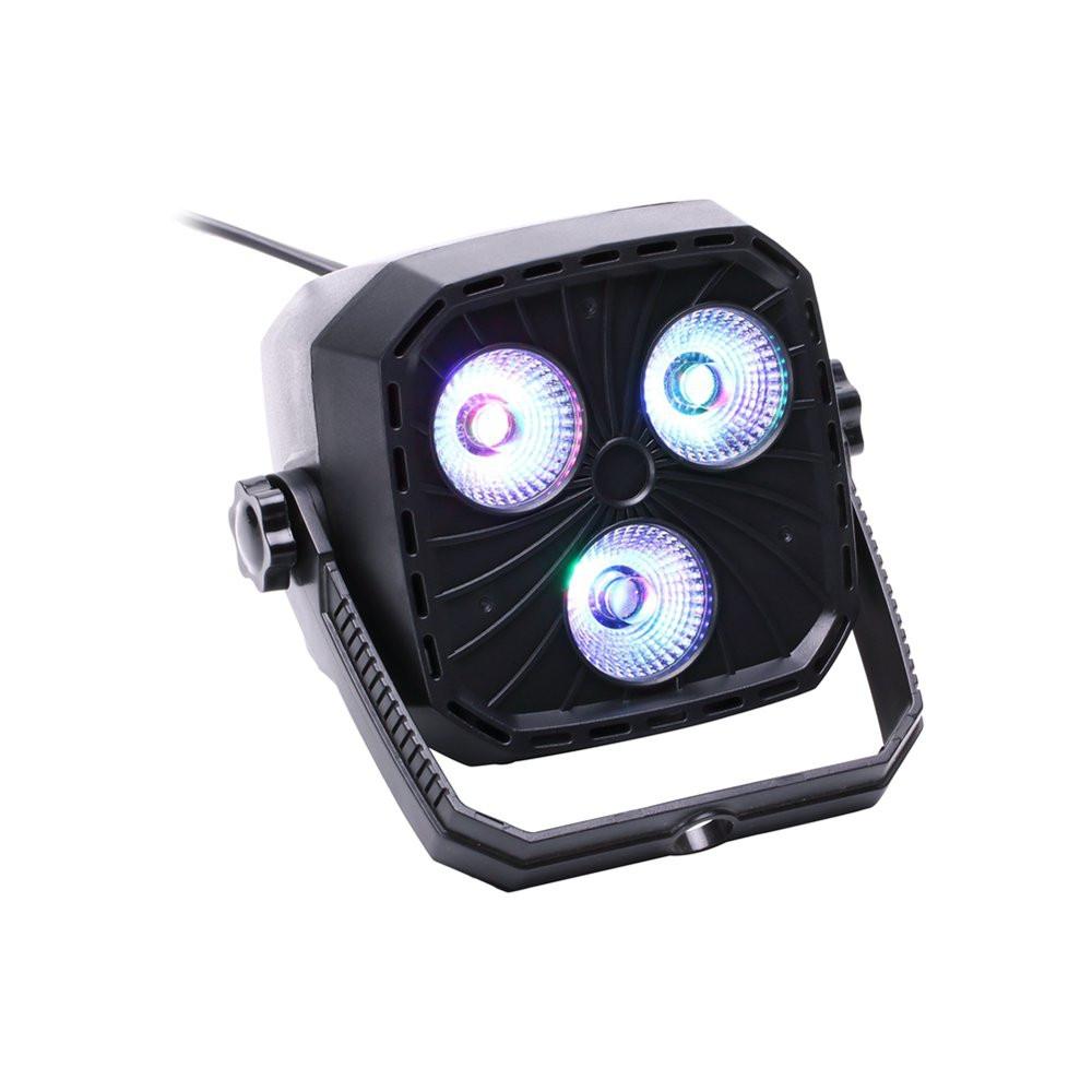 U'King 9W RGBW 4-in-1 3 LEDs 5/8 Channel Sound-activated DMX Par Light for Stage Effect Lighting BLACK EU PLUG