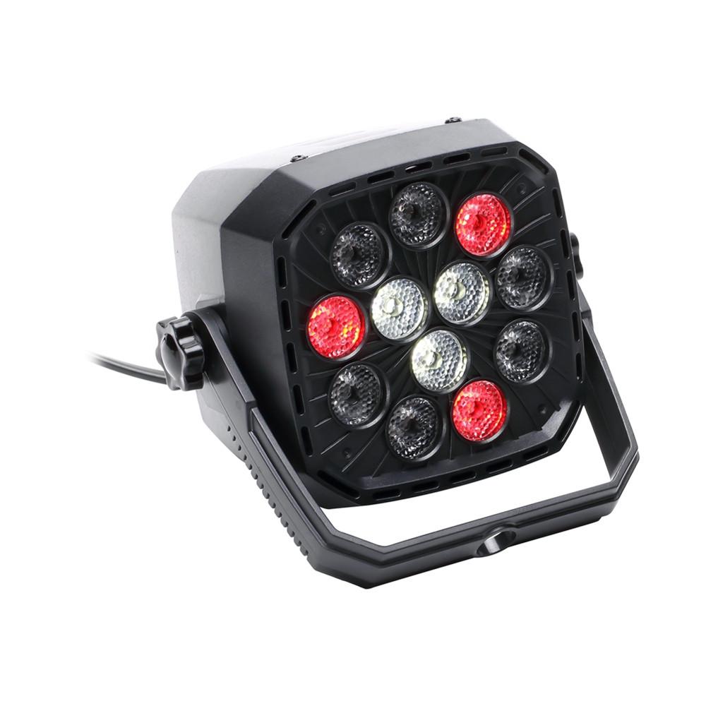 U'King 36W R/G/B/W 12 LEDs 5/8 Channel Sound-activated DMX Par Light for Stage Effect Lighting BLACK US PLUG