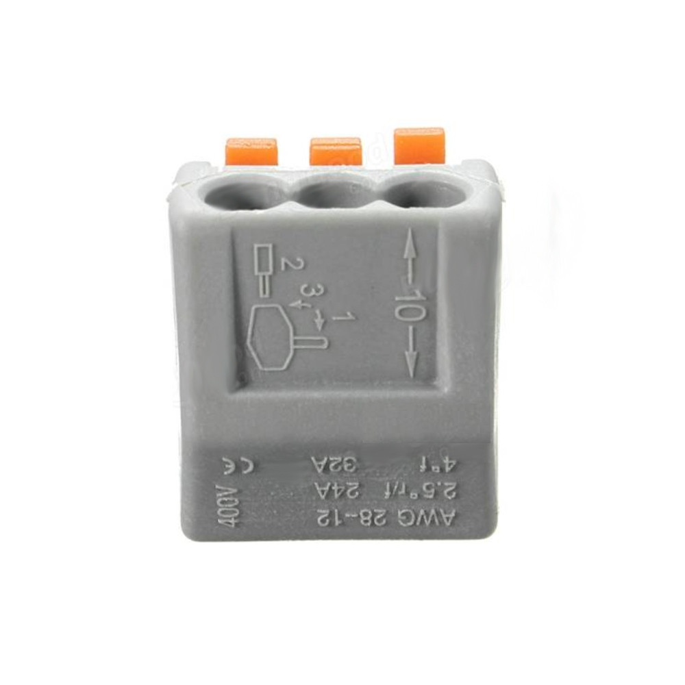 ZDM 2/3/5 Pins ET25 32A Spring Terminal Block Electric Cable Wire Connector 5PCS GRAY GOOSE 3PIN