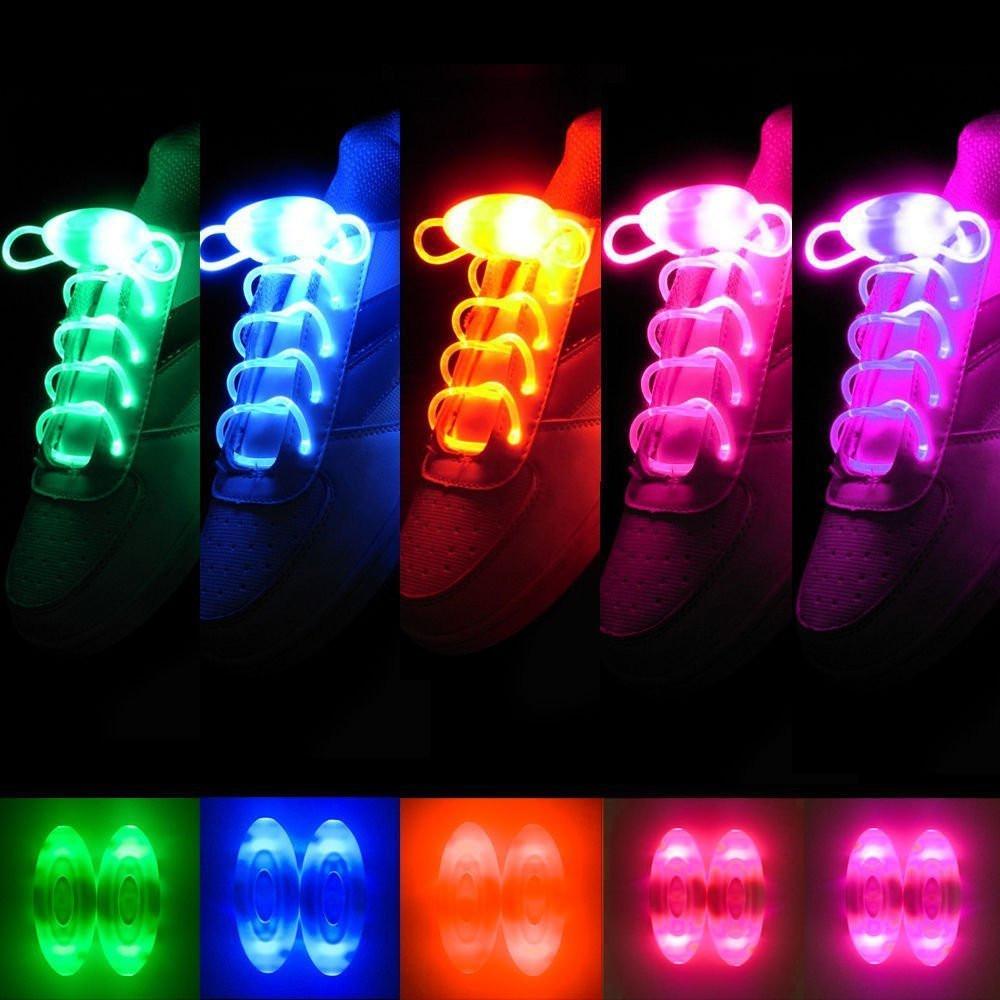 BRELONG Waterproof Luminous LED Color Shoelaces - A pair COLORFUL