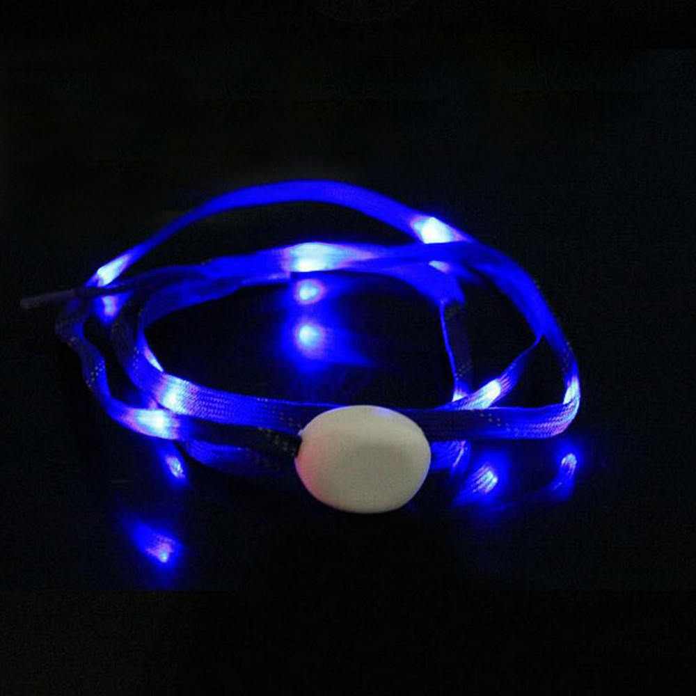 LED Shoelaces for Party Dancing Hip Pop Running Decorations BLUE RIBBON