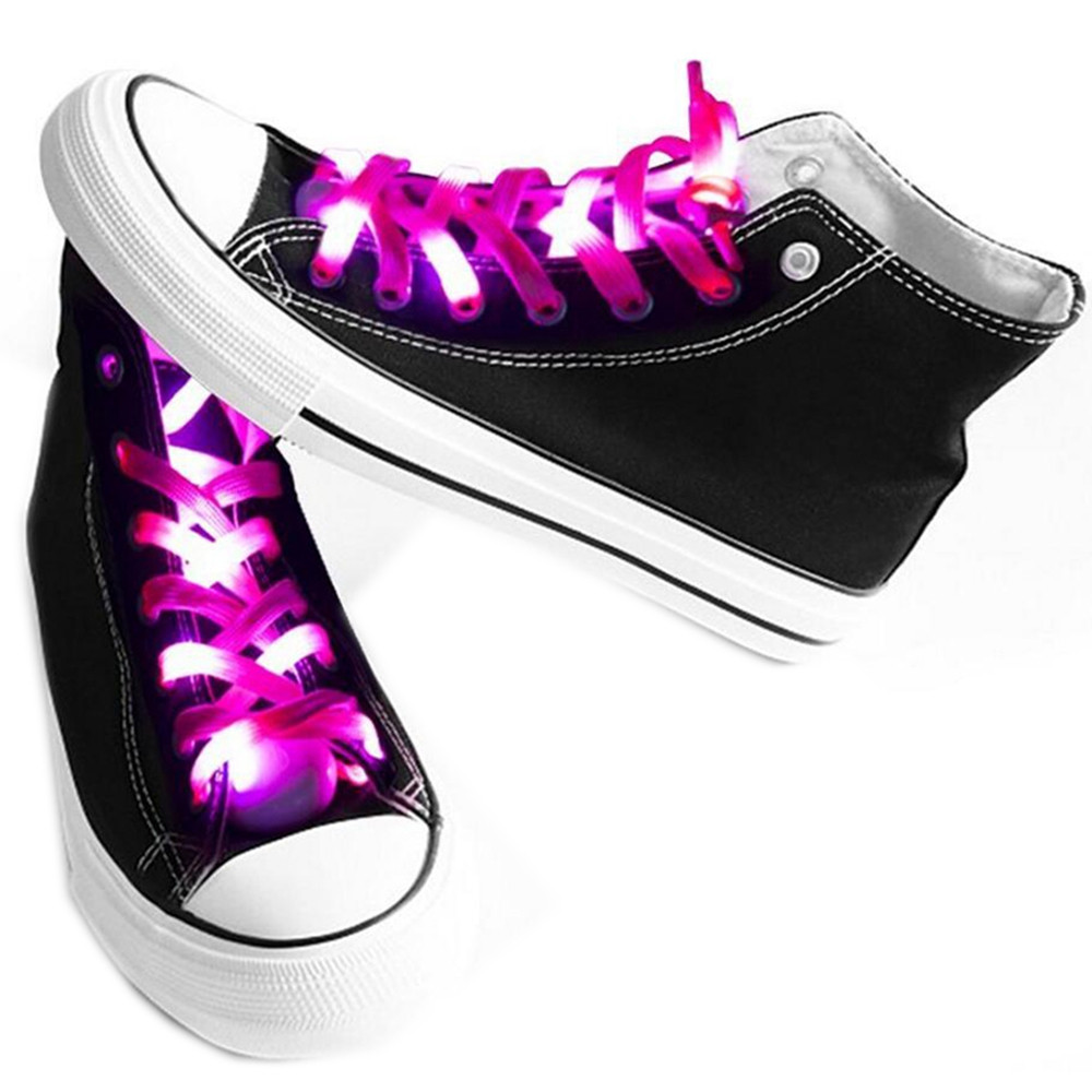 LED Shoelaces for Party Dancing Hip Pop Running Decorations DEEP PINK