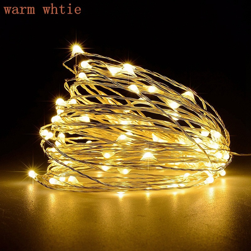 10M 100-LED Silver Wire Strip Light Battery Operated Fairy Lights Garlands Christmas Holiday Wedding Party 1PC WARM WHITE LIGHT