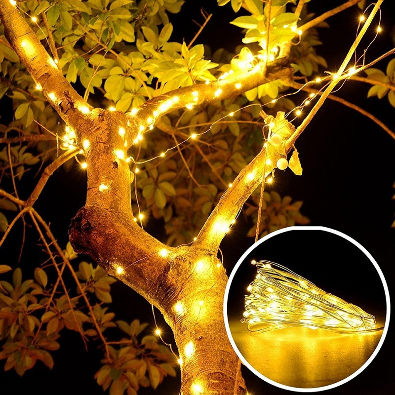 5M 50 LEDS Silver Wire String Lights Christmas Holiday Wedding Party Decoration WARM WHITE LIGHT