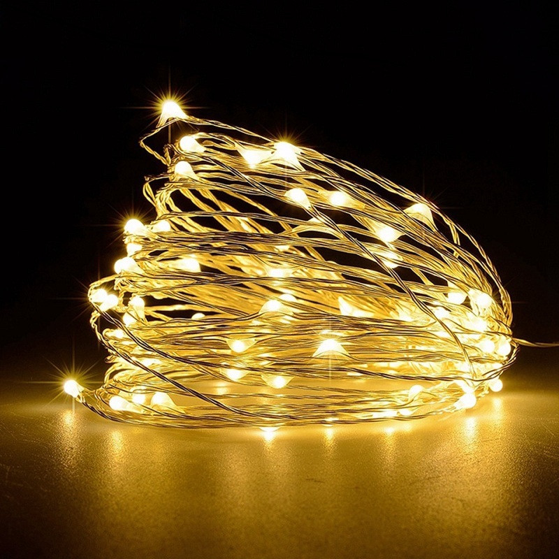 10M 100-LED Silver Wire Strip Light USB Power Supply Fairy Lights Garlands Christmas Holiday Wedding Party 1PC WARM WHITE LIGHT