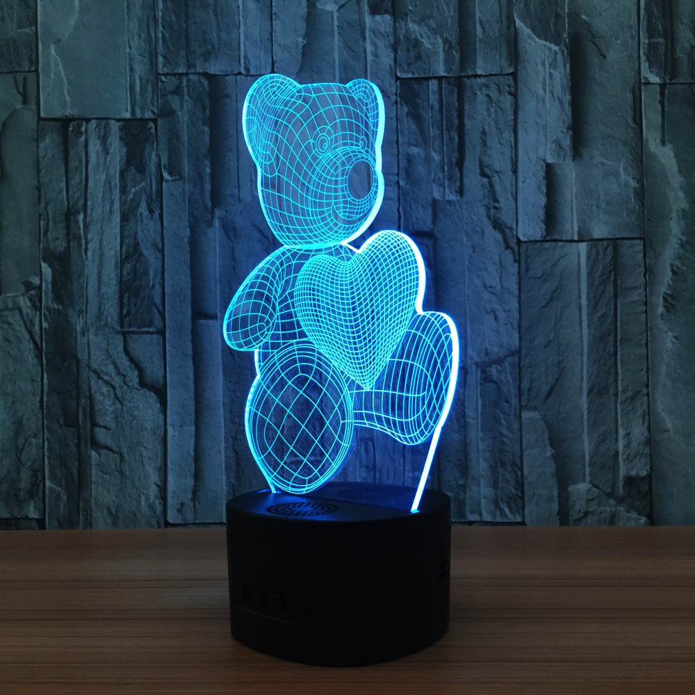 YEDUO LED USB Colorful Night Lamp 3D Illusion Lamp For Kids Toy Christmas Gifts Night Lighting MULTI