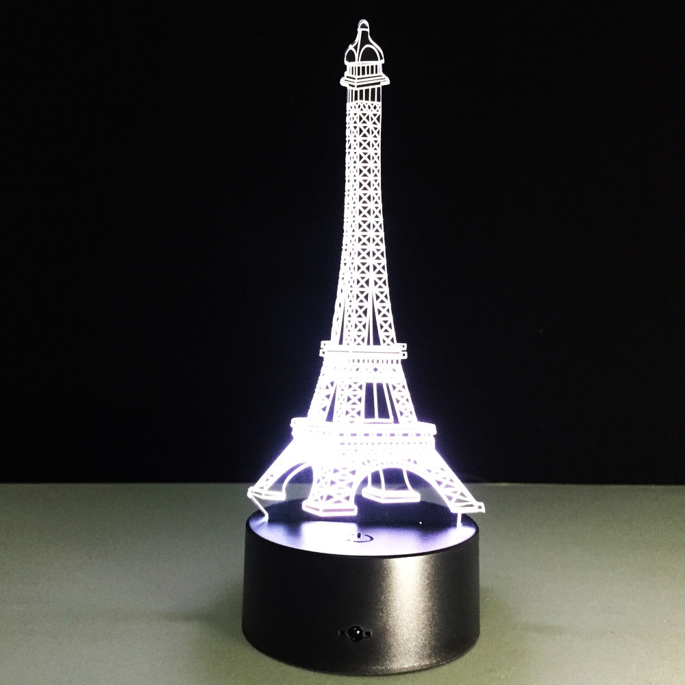 Yeduo Romantic France Eiffel Tower 3D Led Night Light Rgb Changeable Mood Lamp Usb Decorative Table Lamp Kids Friends Gift COLORMIX