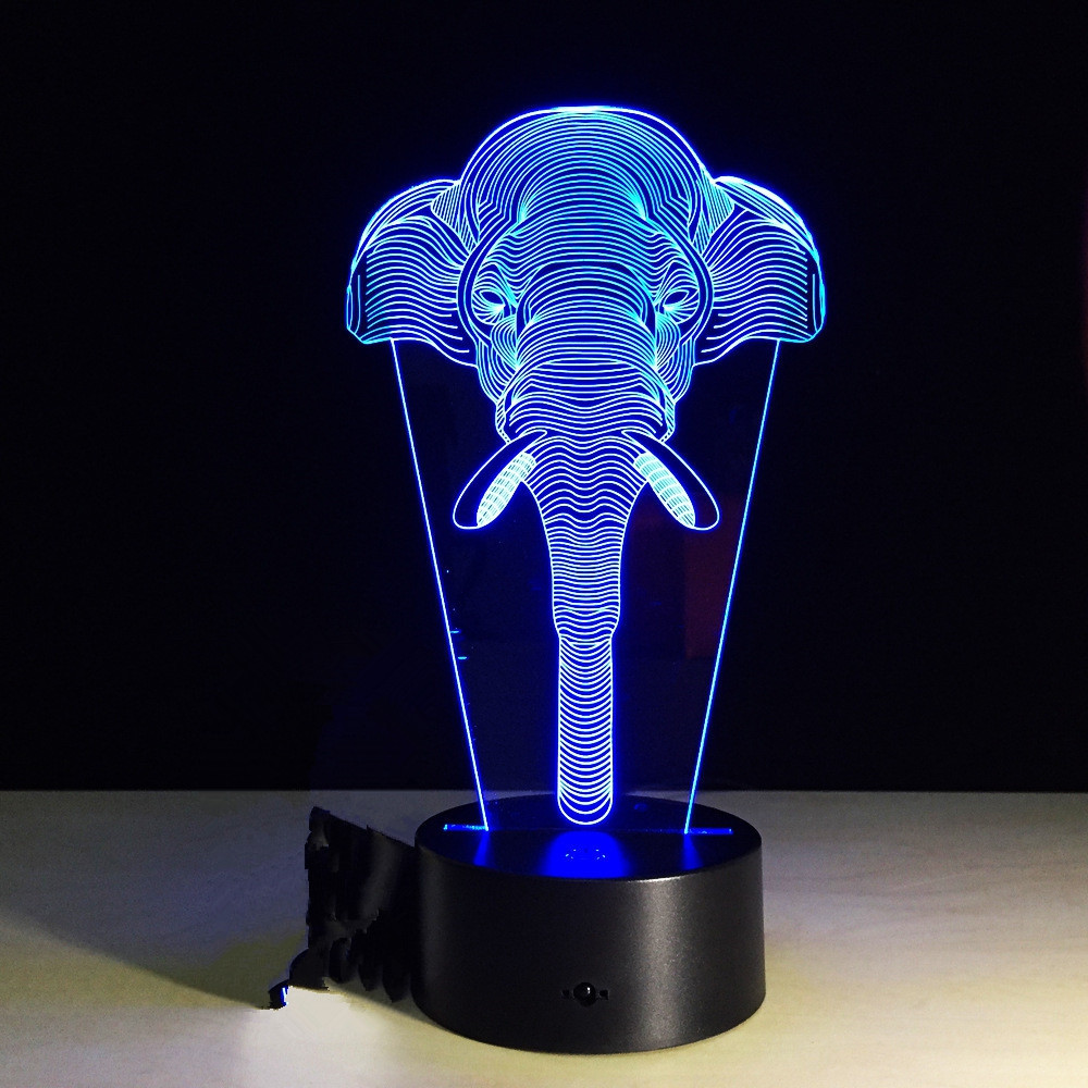 Yeduo 7 Color Change Light Elephants Lights Acrylic Vision 3D Stereoscopic Light Led Lamp Touch Switch Gift Holiday Light BLACK