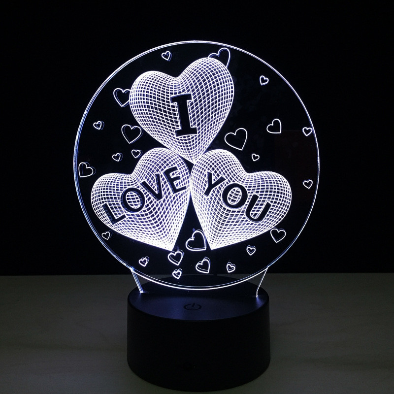 Yeduo Acrylic 7 Color Changing Usb Charge 3D Heart I Love You Led Night Light with 3D Luminous Decor Table Lamp Nightlight COLORMIX