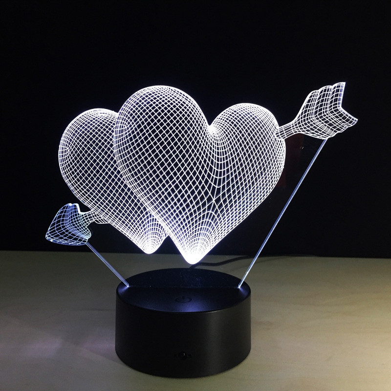 Yeduo 3D Led Night Light 7 Color Changing Piercing Heart Creative Remote Control Or Touch Switch Led Decorate Lamp As Gift COLORMIX