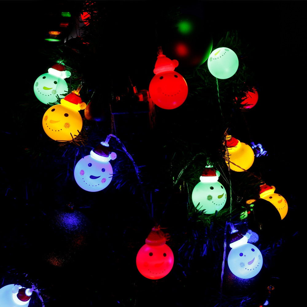 2.2M 20 LEDs Snowman Light String Lamp for Christmas Home Party MULTI
