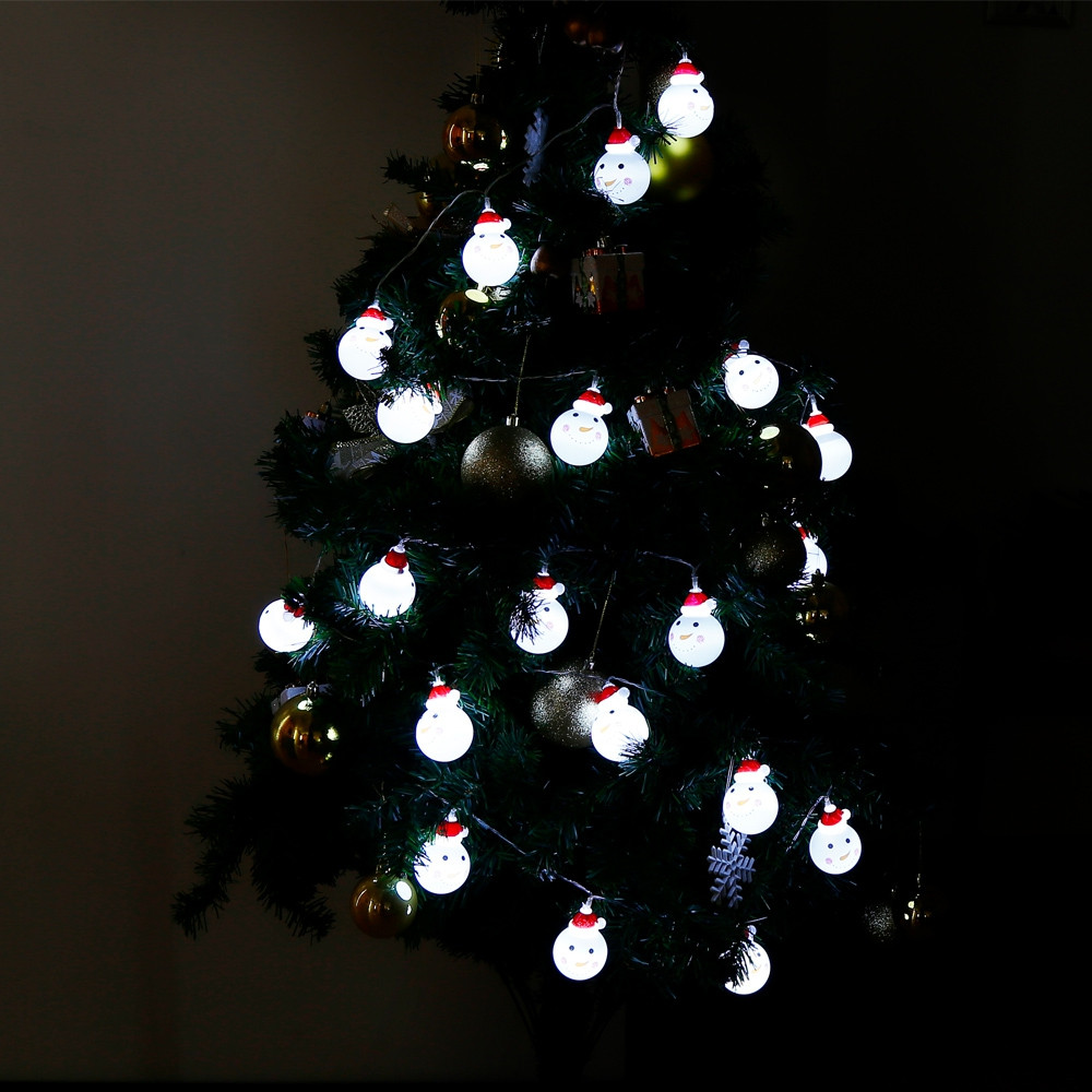 2.2M 20 LEDs Snowman Light String Lamp for Christmas Home Party COOL WHITE