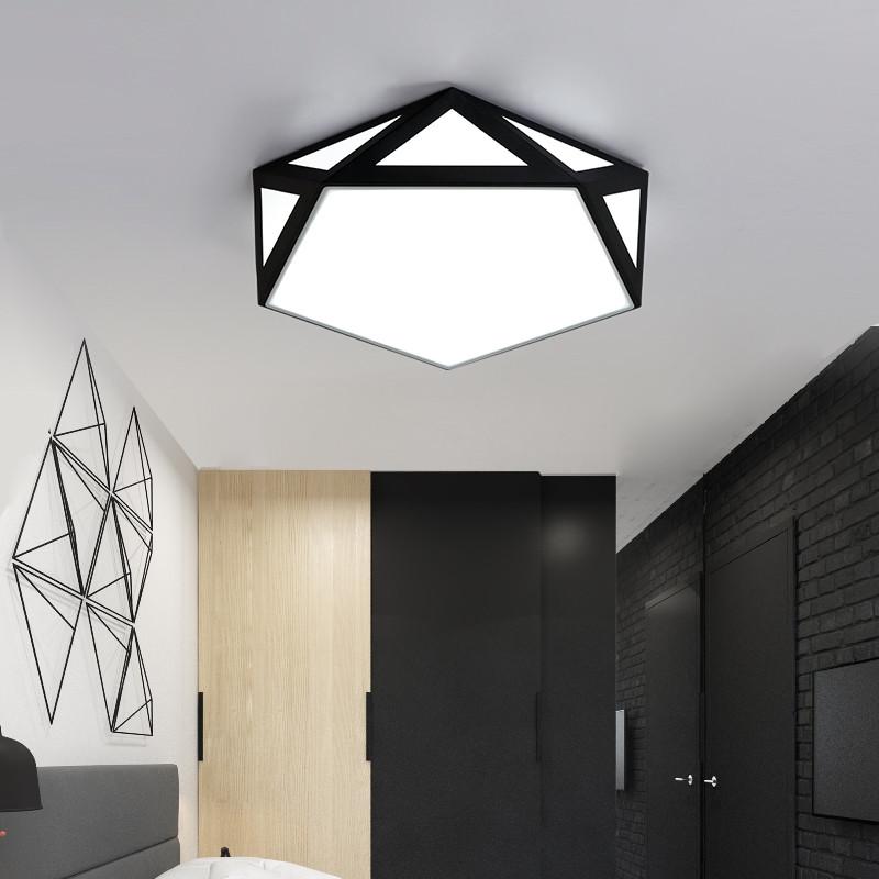 24W LED Creative Ceiling Light Flush Mount Lamp for Living Bedroom AC110V BLACK 6000-6500K
