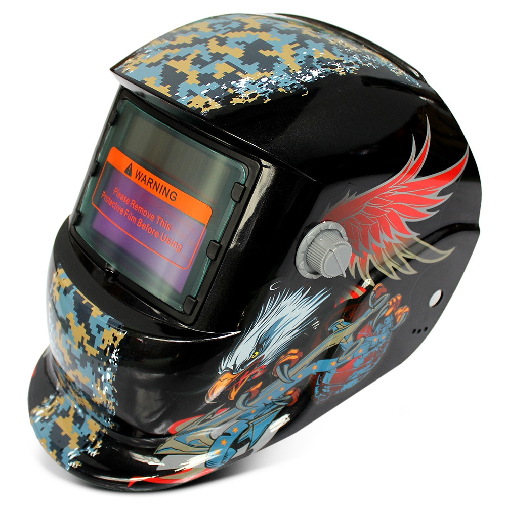 Solar Energy Automatic Changeable Light Electric Welding Protective Helmet with Eagle Pattern