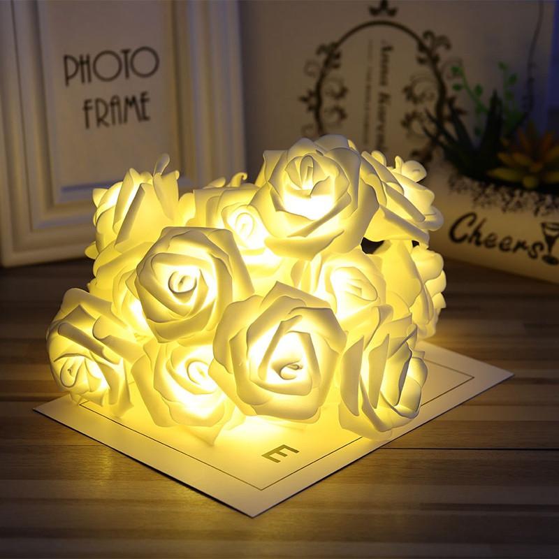 3M Rose Flower LED String Lights Battery Case Decorative for Christmas Wedding WARM WHITE