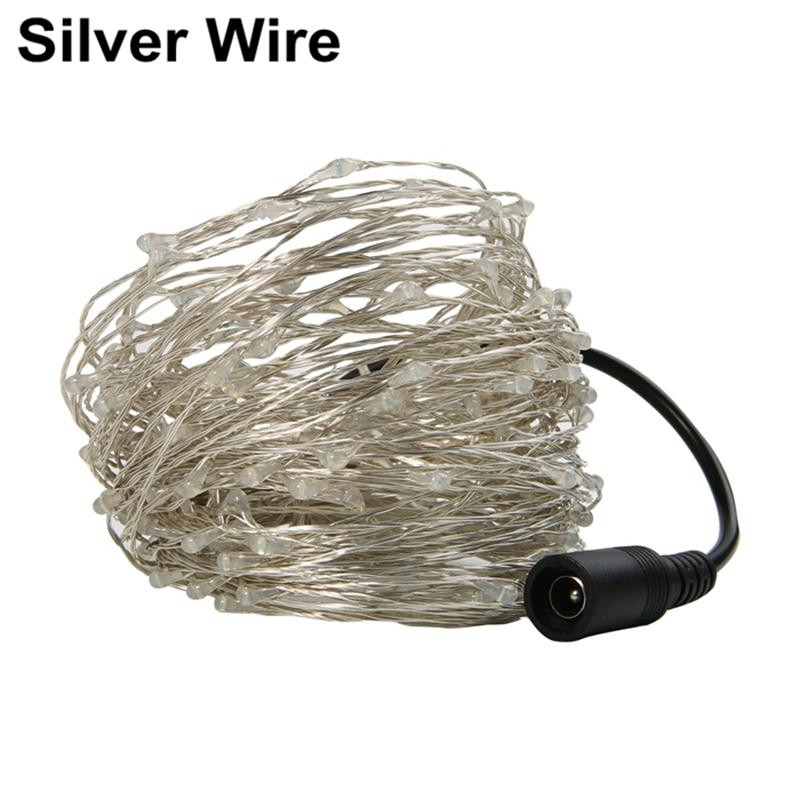 10 Meters 100 Light Copper Wire Light String Holiday Lights LED Timbo Christmas SILVER US PLUG (2-PIN)
