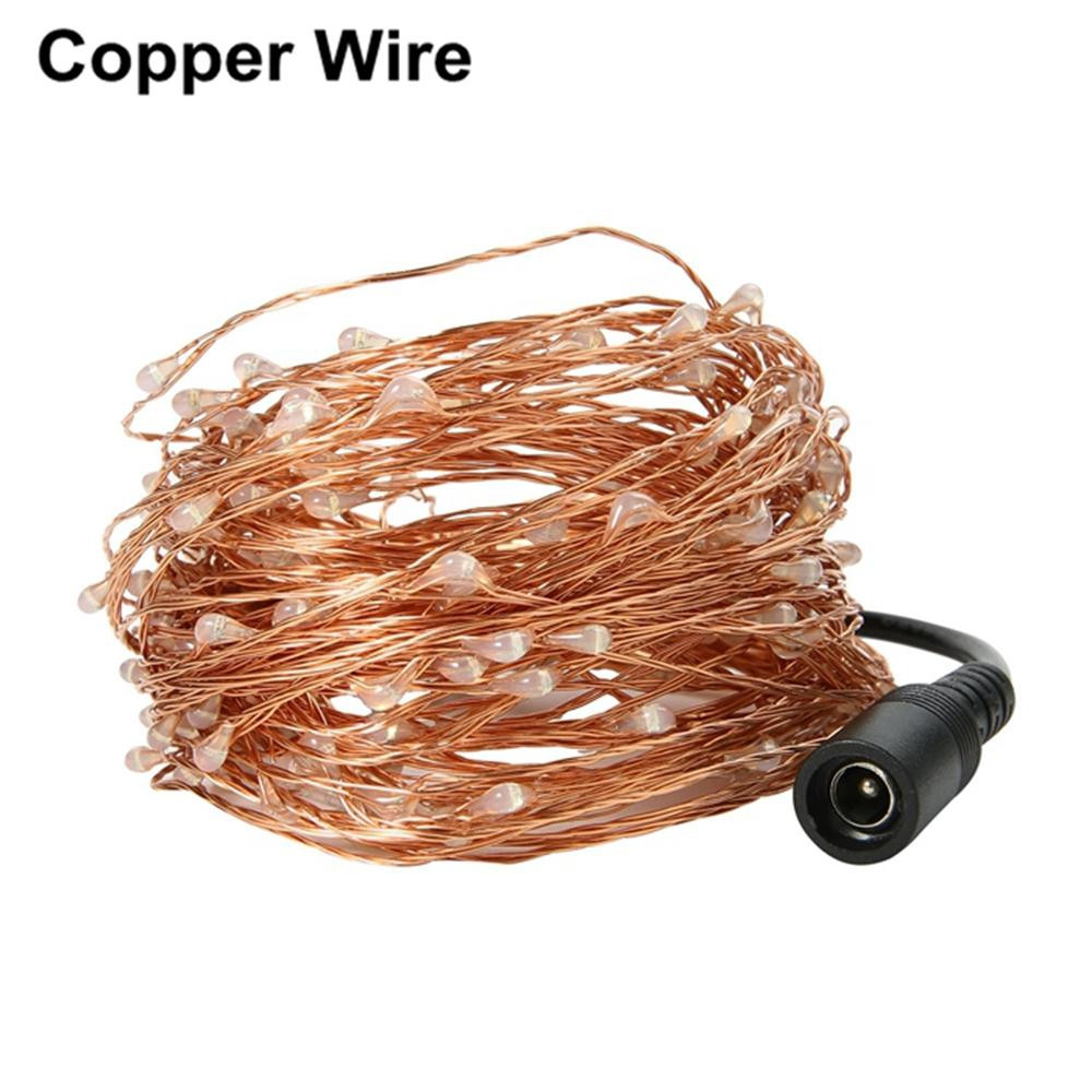 10 Meters 100 Light Copper Wire Light String Holiday Lights LED Timbo Christmas BRONZE US PLUG (2-PIN)