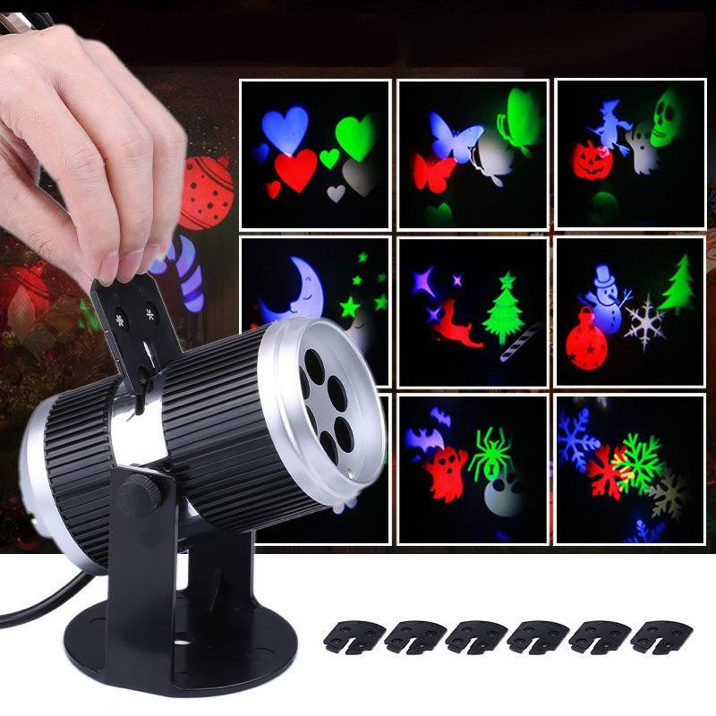 Figure 12 Card Projection Lamp Led Snowflake Projection Lamp Halloween Christmas JET BLACK EU PLUG