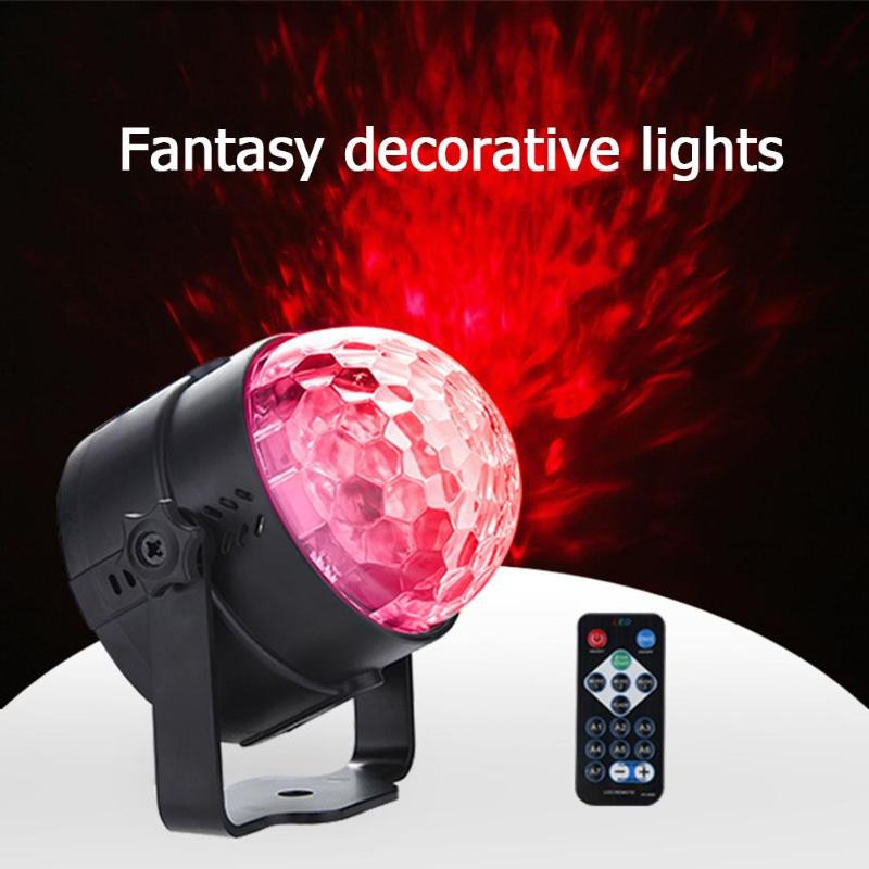 Intelligent Remote Control LED Water Wave Light Mini Decorative Stage Light Mag JET BLACK US PLUG (2-PIN)