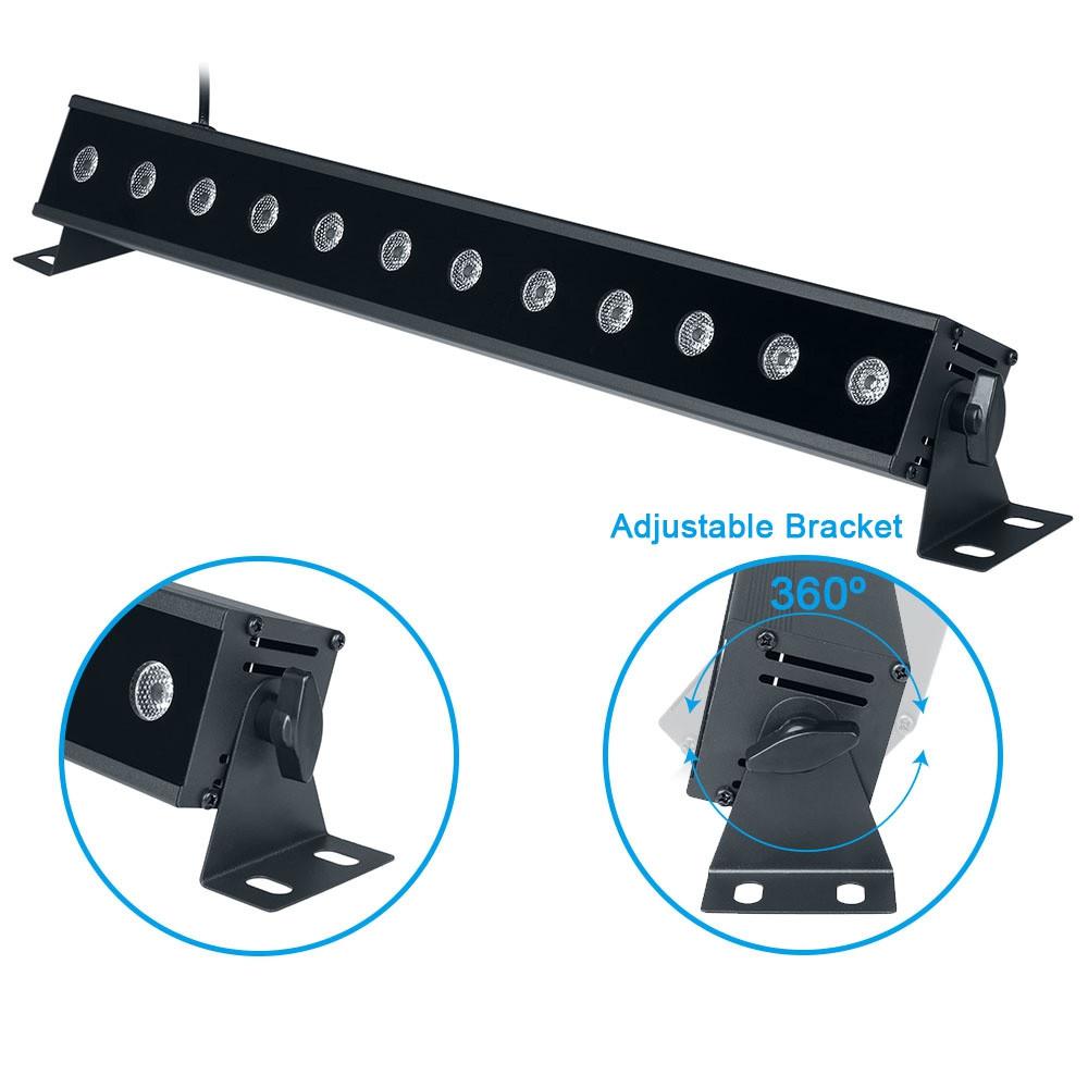 12LEDX3W Led Bar Black Light UV Purple LED Wall Washer Lamp JET BLACK US PLUG (2-PIN)
