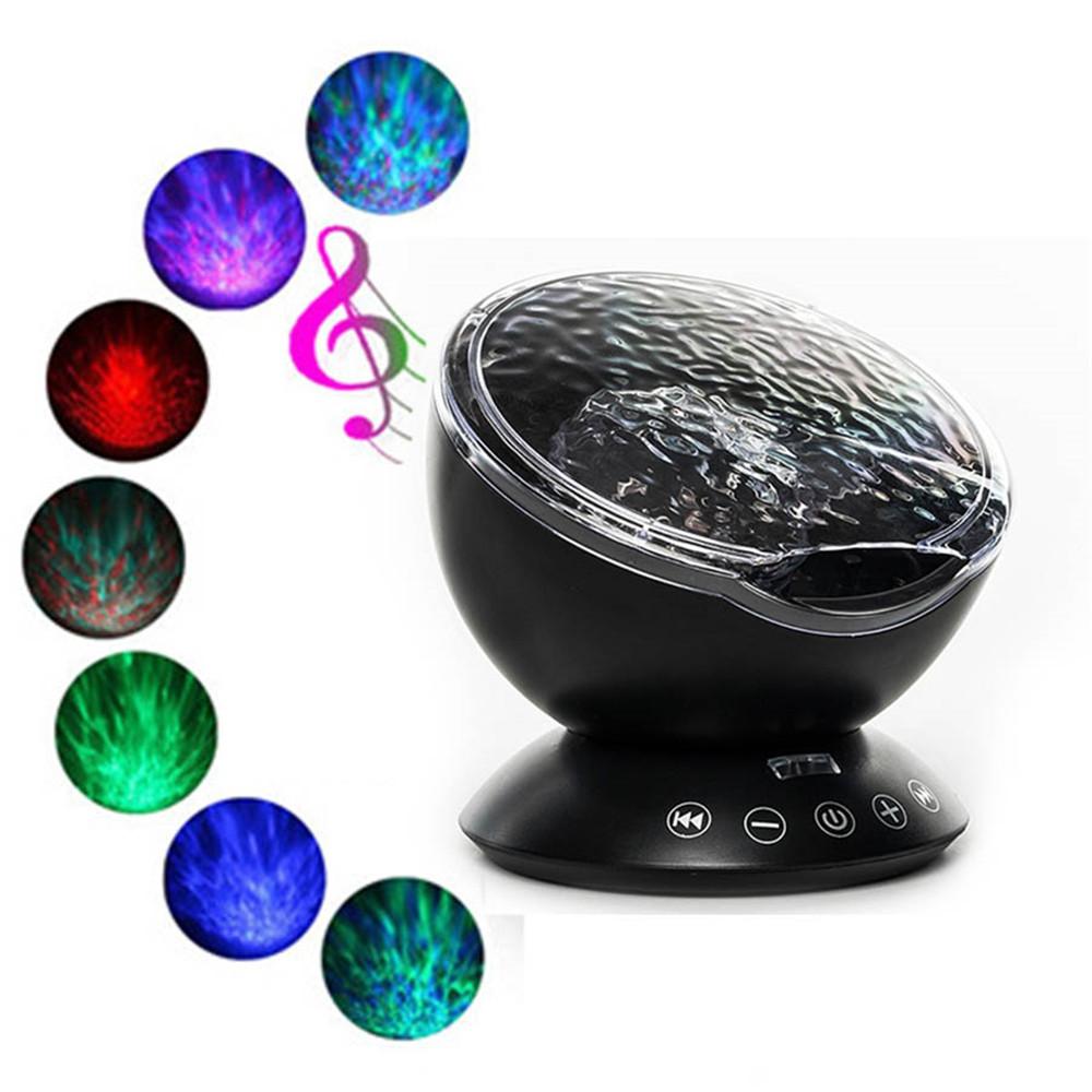 7 Colors 12LED Lamp Remote Control Ocean Wave Projector USB Nightlight Rooms BLACK