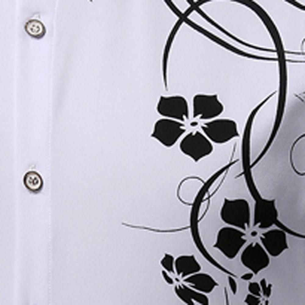 Men's   Autumn Long Sleeve Large Size Casual Print Shirt WHITE 2XL