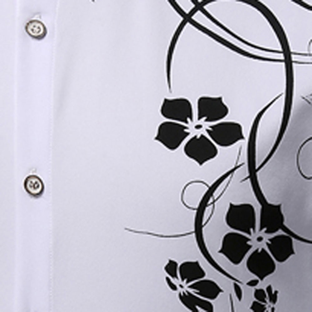 Men's   Autumn Long Sleeve Large Size Casual Print Shirt WHITE L