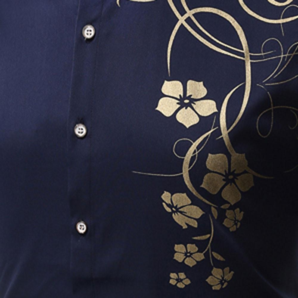 Men's   Autumn Long Sleeve Large Size Casual Print Shirt BLUE M