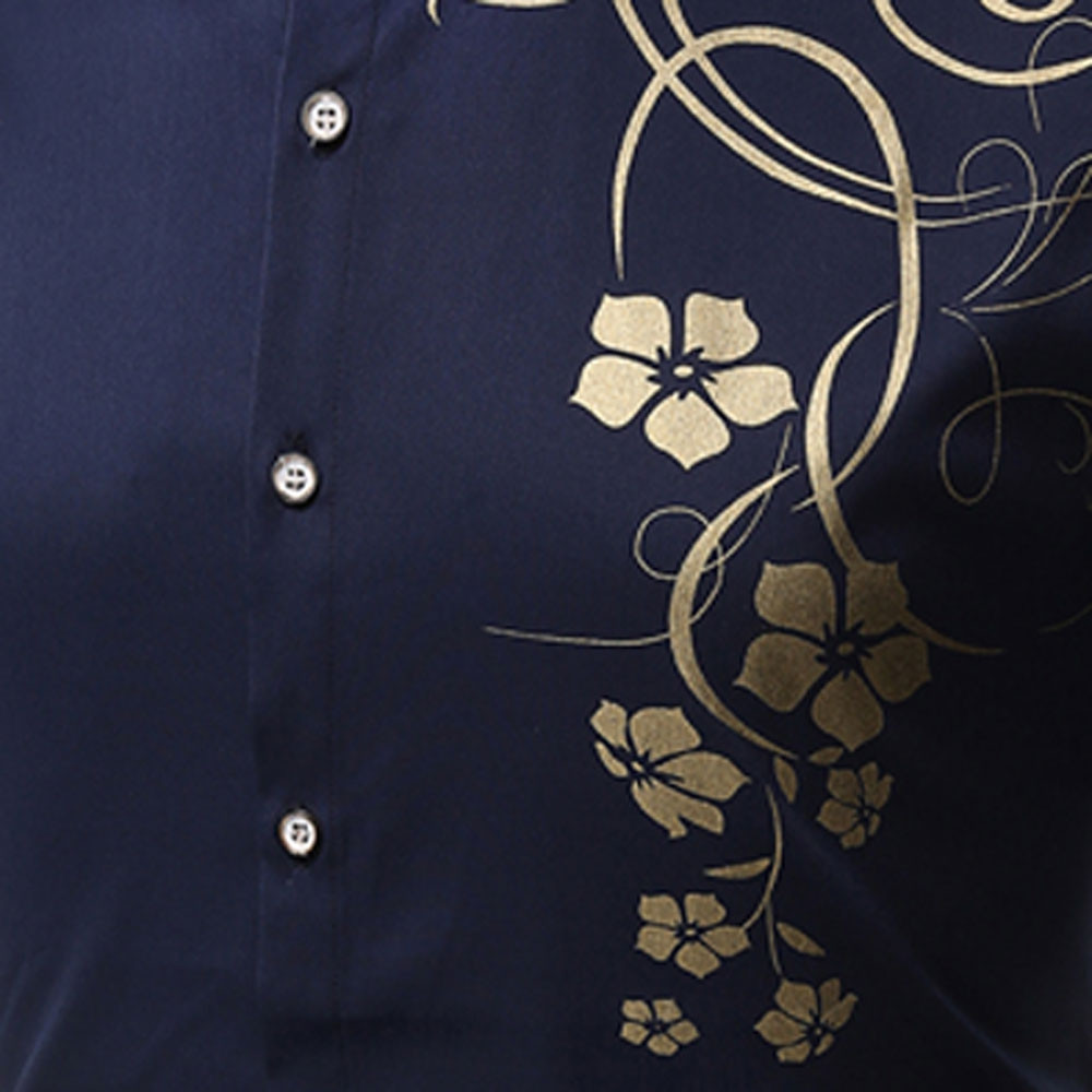 Men's   Autumn Long Sleeve Large Size Casual Print Shirt BLUE L