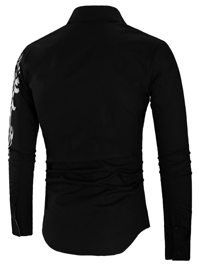 Checked Panel Tiger Print Button Up Shirt BLACK M