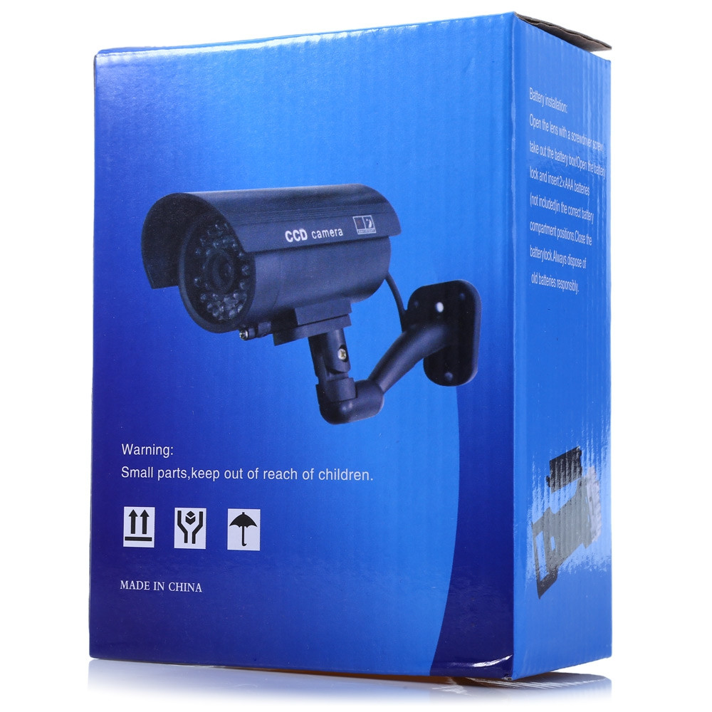 Small Dummy Camera CCTV Sticker Surveillance 90 Degree Rotating with Flashing Red LED Light
