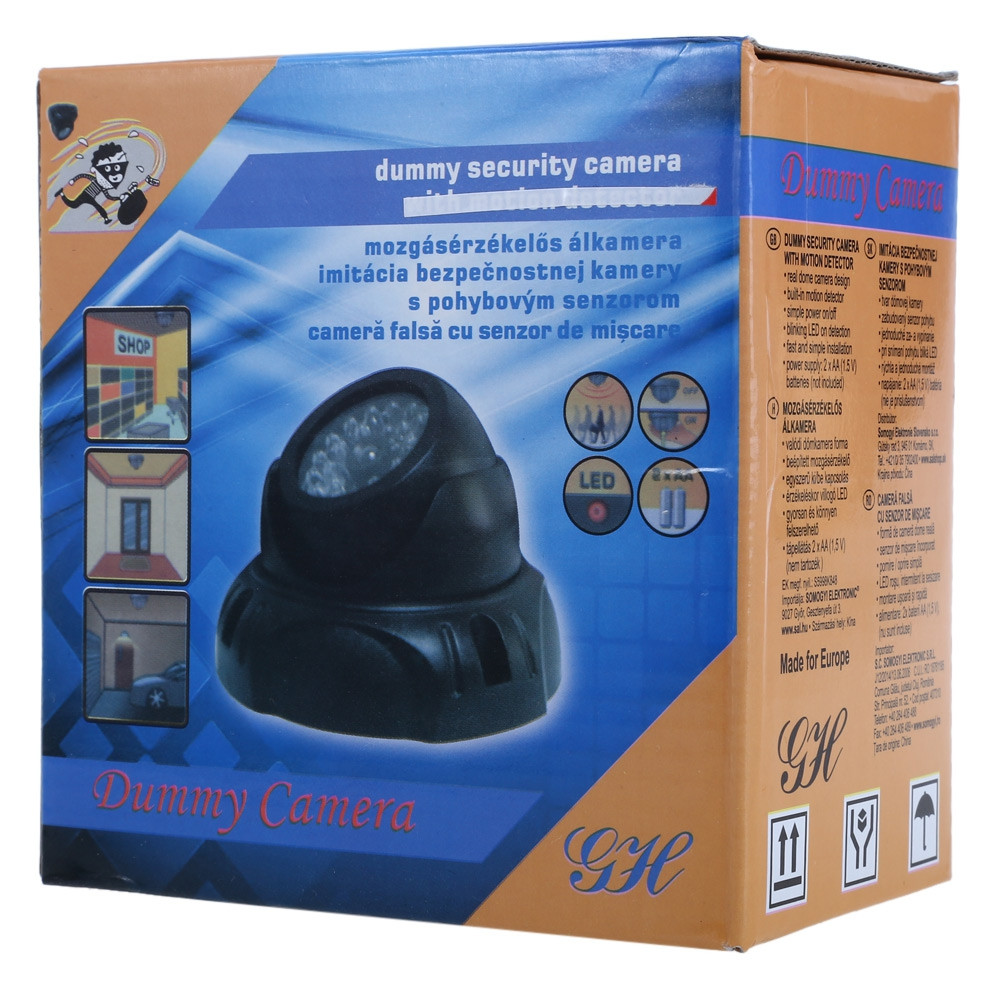 Realistic Dummy Surveillance Security Dome Camera with Flashing LED Red Light