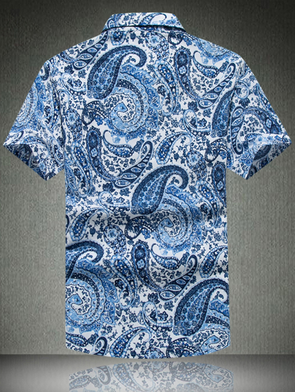 Paisley Print Turn Down Collar Shirt BLUE 5XL